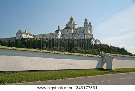 Assumption Cathedral Of Pochaev Lavra Against The Sky, Bottom View