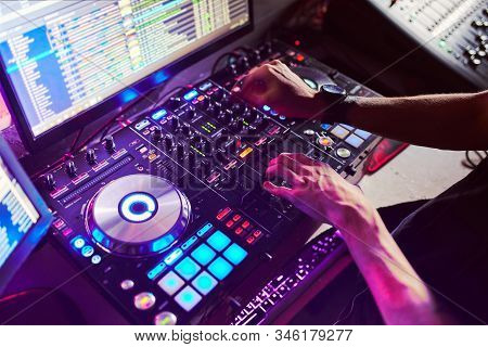 Mixing, And Scratching In A Night Club, Hands Of Dj Soft Focus, Close Up