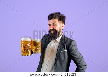 Holliday, Drinks, Alcohol, Leisure Concept. Bearded Man Hold Glass With Craft Ale. Beer In Germany.