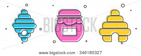 Set Hive For Bees, Jar Of Honey And Hive For Bees Icon. Vector