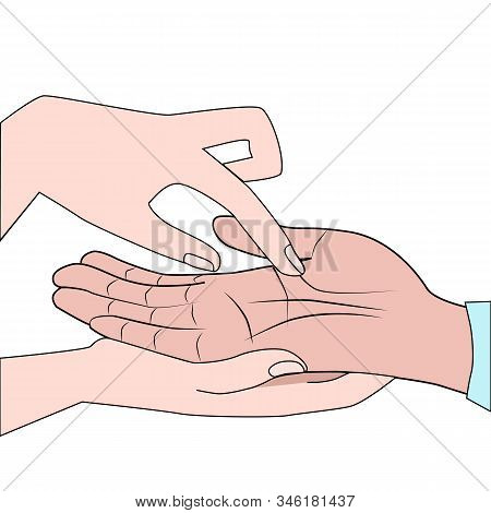 Hands Close Up. Fortunetelling, Esotericism, Palmistry. Vector