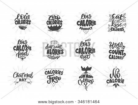 No Calories, Zero Calories, Low Calories Product. Set Of Vintage Retro Hand Drawn Badges, Labels