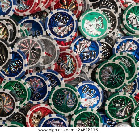 Pile Of Casino Chips. The Concept Of Gambling And Entertainment.
