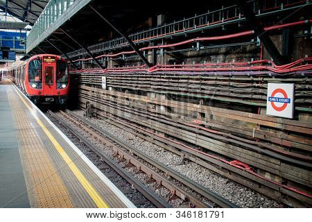 London, United Kingdom - May 4, 2019: Train Is Approaching In London Underground Station Of Earls Co