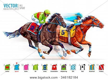 Two Racing Horses Competing With Each Other. Hippodrome. Racetrack. Derby. Jockey Uniform. Isolated