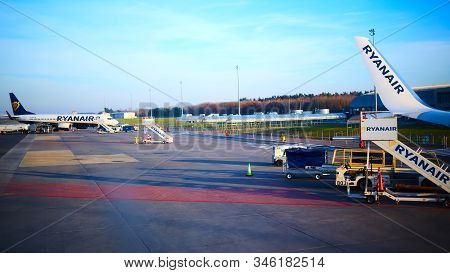 Modlin, Poland - November 17, 2019: Preparing For Boarding To Ryanair Plane In Warsaw Modlin Airport