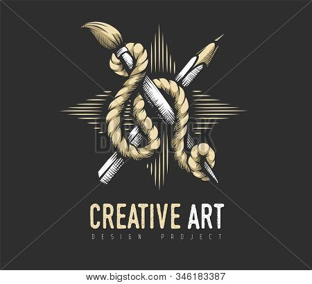 Creative Art Concept. Heraldic Emblem Of Pencil, Brush Artist Drawing Tools Binded With Rope On Star