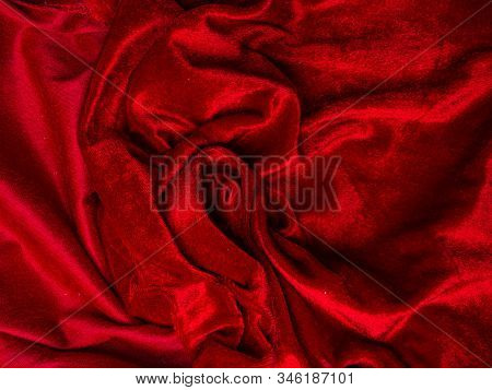 Deep Red Velvet Texture For Background, Red Rose Shape, Love And Passion Concept. Very Affectionate