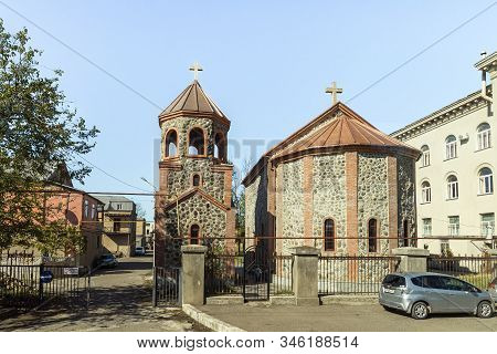 Kutaisi, Georgia, October 13, 2019 : Small District Church Stands In The Old Part Of Kutaisi In Geor