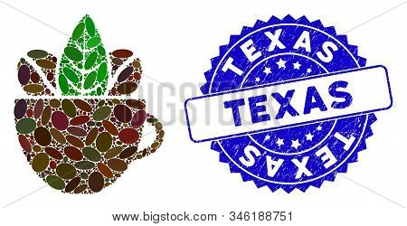 Mosaic Fresh Coffee Cup Icon And Rubber Stamp Seal With Texas Text. Mosaic Vector Is Composed With F
