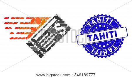 Collage Express Cheque Icon And Rubber Stamp Watermark With Tahiti Phrase. Mosaic Vector Is Composed