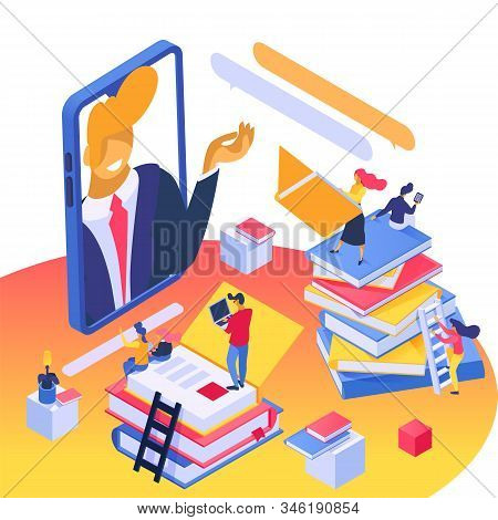 Online Learning, Education Concept Vector Illustration Isometric Isolated. Students With Electronic