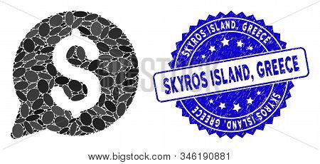 Collage Bid Icon And Rubber Stamp Seal With Skyros Island, Greece Text. Mosaic Vector Is Formed With