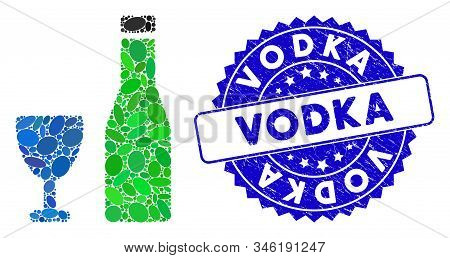 Mosaic Alcohol Icon And Corroded Stamp Seal With Vodka Caption. Mosaic Vector Is Designed With Alcoh