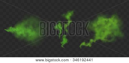 Green Bad Smell. Stinking Streams Of Farting, Smoke Clouds Or Stench Gases. Vector Realistic Set Of