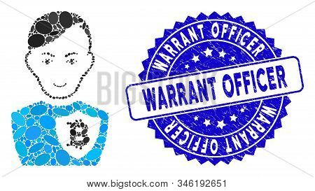 Mosaic Bitcoin Police Officer Icon And Grunge Stamp Seal With Warrant Officer Phrase. Mosaic Vector