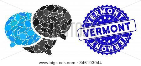 Mosaic Webinar Icon And Grunge Stamp Seal With Vermont Phrase. Mosaic Vector Is Created With Webinar