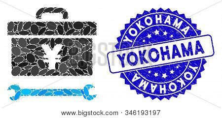 Mosaic Yen Toolbox Icon And Distressed Stamp Seal With Yokohama Caption. Mosaic Vector Is Formed Wit