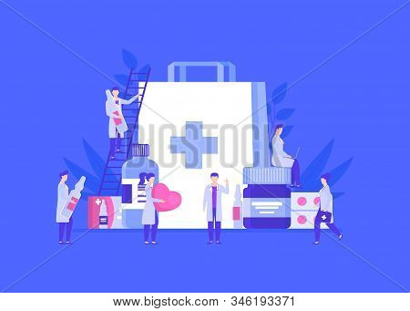 Doctors Pharmacists People Team Among Medicines Jars, Ampoules, Pills Vector Illustration. Man Climb