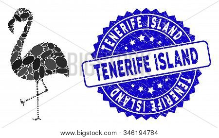 Mosaic flamingo icon and rubber stamp seal with Tenerife Island caption. Mosaic vector is created from flamingo icon and with randomized elliptic elements. Tenerife Island stamp uses blue color, poster