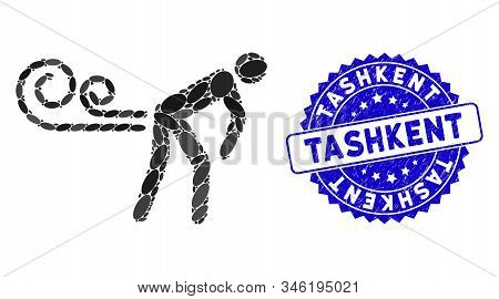 Mosaic Farting Wind Icon And Rubber Stamp Seal With Tashkent Phrase. Mosaic Vector Is Composed With