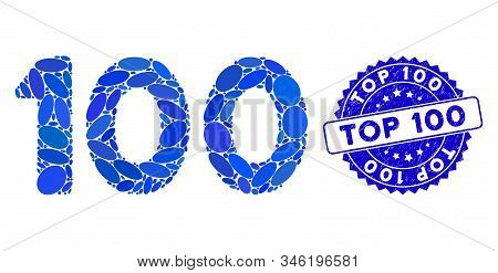 Mosaic 100 Digits Text Icon And Grunge Stamp Seal With Top 100 Caption. Mosaic Vector Is Designed Wi