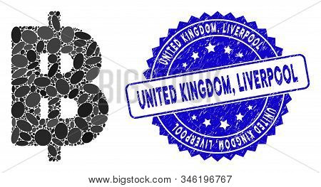 Mosaic Thai Baht Icon And Corroded Stamp Seal With United Kingdom, Liverpool Text. Mosaic Vector Is