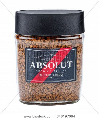 Moscow, Russia - January 20, 2020: Glass Jar Of Granulated Instant Absolut Coffee With Arabica Flavo