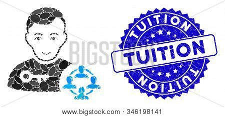 Collage Social Engineer Icon And Grunge Stamp Seal With Tuition Text. Mosaic Vector Is Composed With