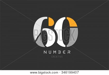 Number 60 Sixty For Company Logo Icon Design In Grey Orange And White Colors. Usable For A Logotype