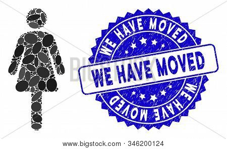 Mosaic Woman Icon And Grunge Stamp Watermark With We Have Moved Caption. Mosaic Vector Is Created Wi