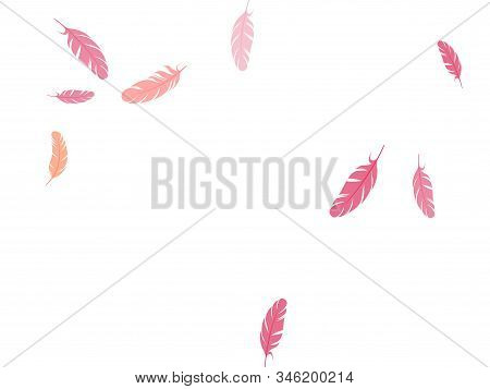 Abstract Pink Flamingo Feathers Vector Background. Angel Wing Plumage Concept. Decorative Confetti O