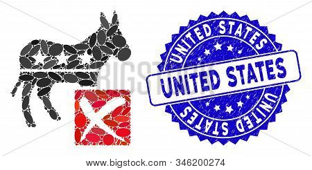 Collage Decline Democratic Icon And Rubber Stamp Seal With United States Caption. Mosaic Vector Is C