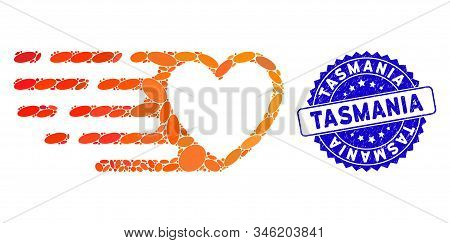 Collage Fast Love Heart Icon And Distressed Stamp Seal With Tasmania Phrase. Mosaic Vector Is Design