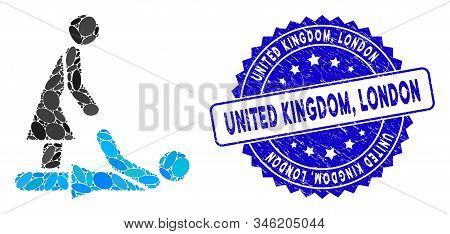 Mosaic Thai Massage Icon And Rubber Stamp Seal With United Kingdom, London Text. Mosaic Vector Is De