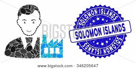 Mosaic Capitalist Oligarch Icon And Distressed Stamp Seal With Solomon Islands Text. Mosaic Vector I