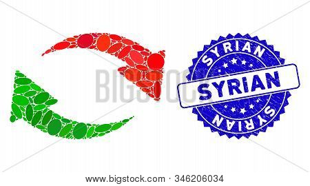 Mosaic Exchange Icon And Corroded Stamp Watermark With Syrian Phrase. Mosaic Vector Is Formed With E