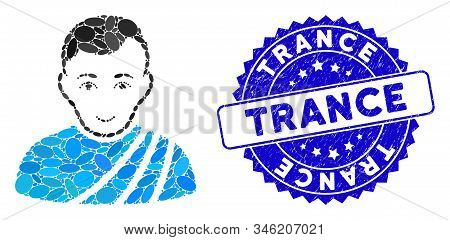 Mosaic Patrician Citizen Icon And Rubber Stamp Watermark With Trance Caption. Mosaic Vector Is Desig