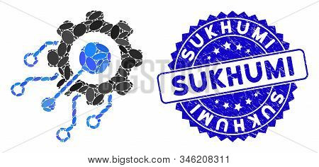 Collage Digital Integration Gear Icon And Distressed Stamp Seal With Sukhumi Caption. Mosaic Vector