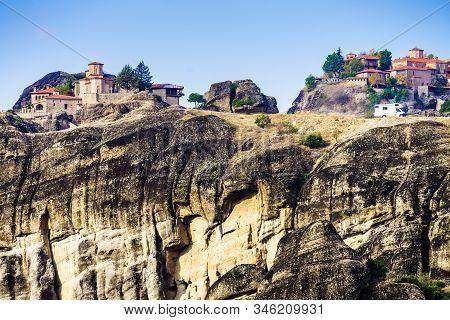 Monastery On Cliff In Meteora, Kalambaka Thessaly Greece. Greek Destinations. Unesco World Heritage