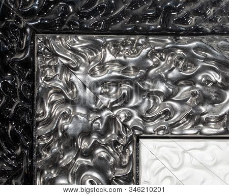 Detail Of Ornamental Picture Frame, Silver Color.