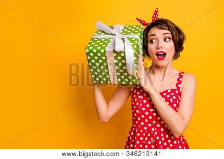 Portrait Crazy Astonished Girl Celebrate 8-march Get Big Green Present Box Impressed Scream Wow Omg