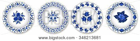 Porcelain Plates Ornate With Floral Pattern, Blue On White. Set Of Decorative Elements Isolated. Tra