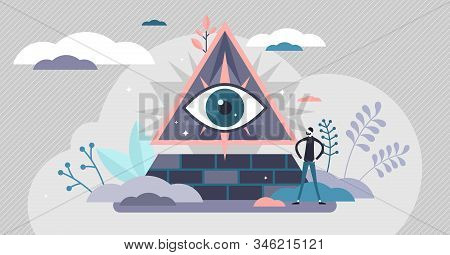 Conspiracy Theory, Eye Pyramid Symbol Concept, Flat Tiny Person Vector Illustration. All Controlling
