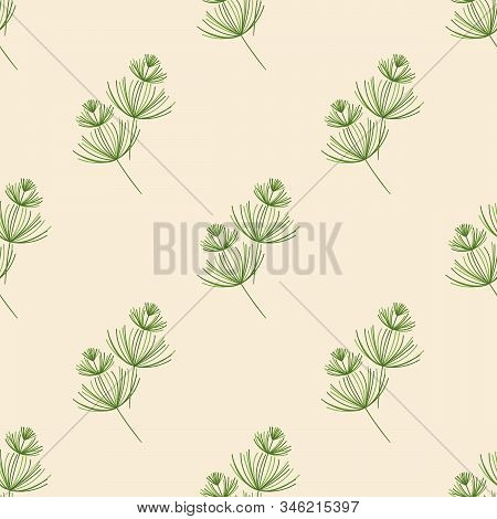 Seamless Botanical Pattern. Horsetail, A Medicinal Plant. Green Plants On A Light Background