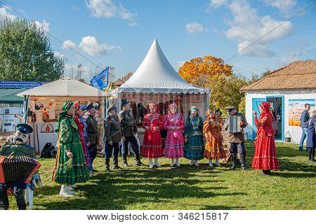 Izmailovsky Park, Moscow, Russia-october 1, 2016: Descendants Of Cossacks At The Fair And Cossack Ga