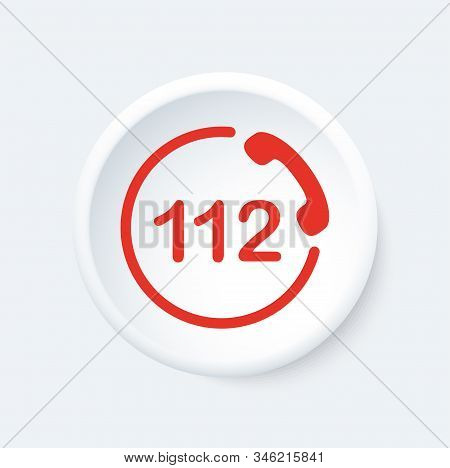 112 Button. Emergency Phone Symbol. White And Red Icon.