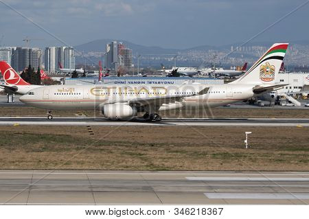Istanbul / Turkey - March 29, 2019: Etihad Airways Airbus A330-200 A6-eyg Passenger Plane Departure
