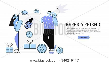 Vector Illustration Of People Standing Near Smartphone And Shouting In Loud Speaker. Refer A Friend,