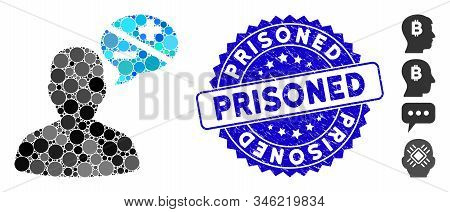 Collage User Opinion Icon And Corroded Stamp Seal With Prisoned Text. Mosaic Vector Is Designed With